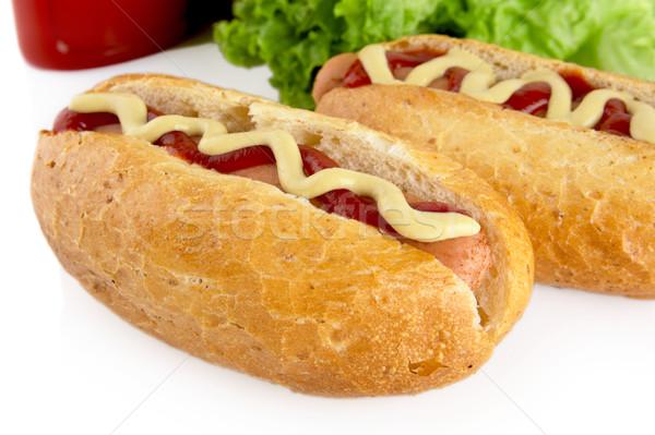 кетчуп салата белый горячей собаки Салат Сток-фото © dla4