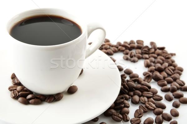 Copo café pires café da manhã café preto feijões Foto stock © dla4
