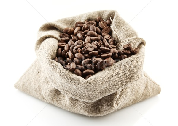 Foto stock: Completo · granos · de · café · blanco · bolsa · tienda