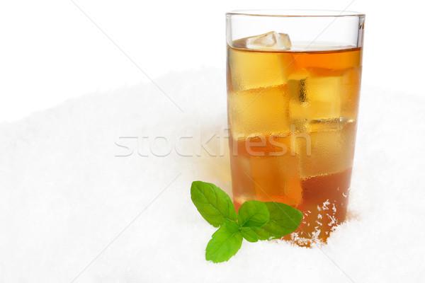 Buzlu çay buz beyaz uzay yaprakları serin Stok fotoğraf © dla4