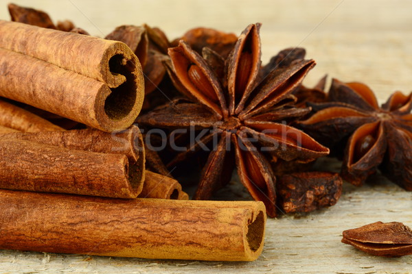 Closeup set of anise and cinnamon on wooden board Stock photo © dla4