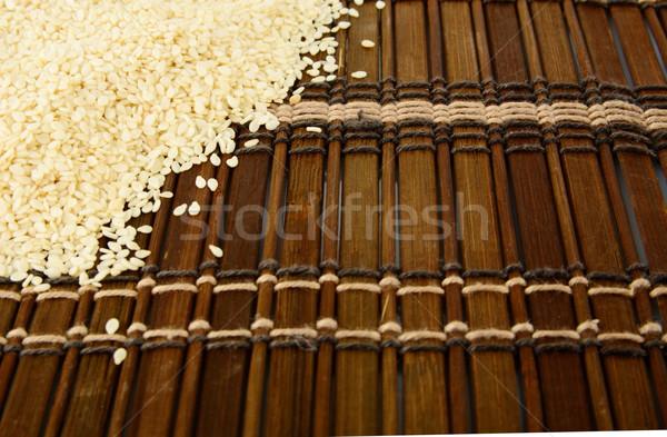 Susam kahverengi köşe arka plan yağ bitki Stok fotoğraf © dla4