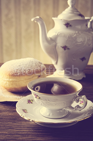 Donut beker thee tabel koffie achtergrond Stockfoto © dla4