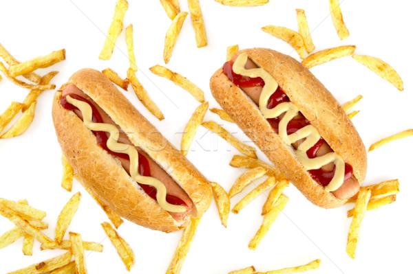 Chaud chiens frites françaises au-dessus blanche chien Photo stock © dla4