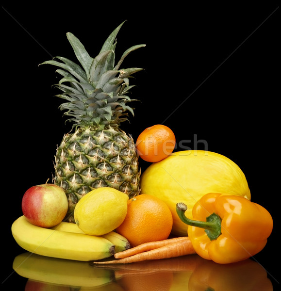набор желтый черный нижний яблоко фон Сток-фото © dla4