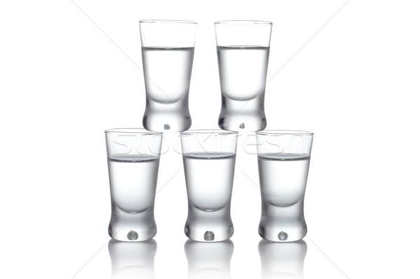 Foto stock: Muchos · gafas · vodka · aislado · blanco · primer · plano