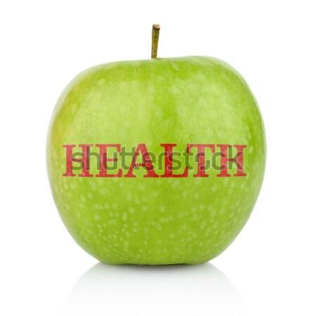 Studio shot of green apple with inscription doctor away Stock photo © dla4