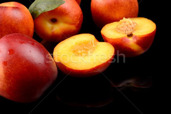 Néhány szeletel izolált fekete sok gyümölcs Stock fotó © dla4