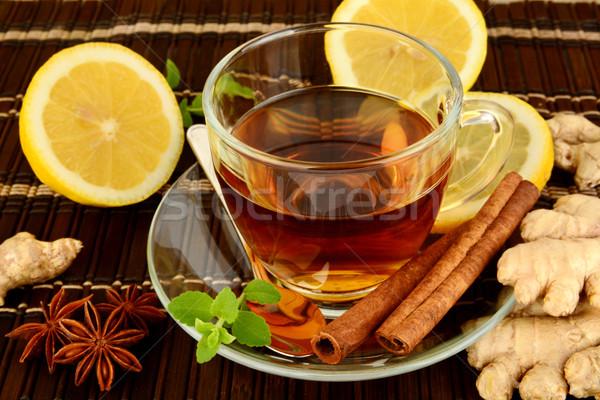 Foto stock: Jengibre · marrón · limón · menta · mesa · beber