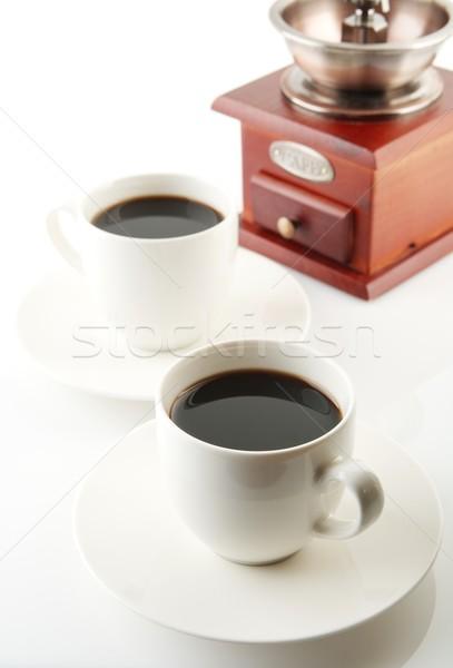 カップ コーヒー ソーサー ミル 白 コーヒーカップ ストックフォト © dla4