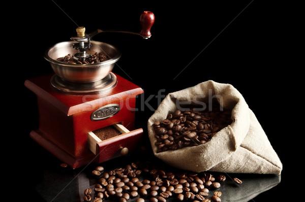 フル コーヒー豆 ミル 袋 黒 ストックフォト © dla4