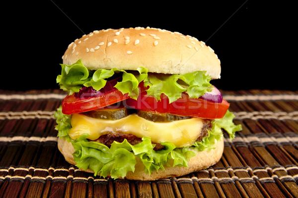 Grande cheeseburger preto comida bar Foto stock © dla4