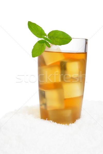 Ice tea with ice cubes,mint on snow on white Stock photo © dla4