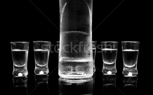 Butelki okulary wódki stałego odizolowany czarny Zdjęcia stock © dla4