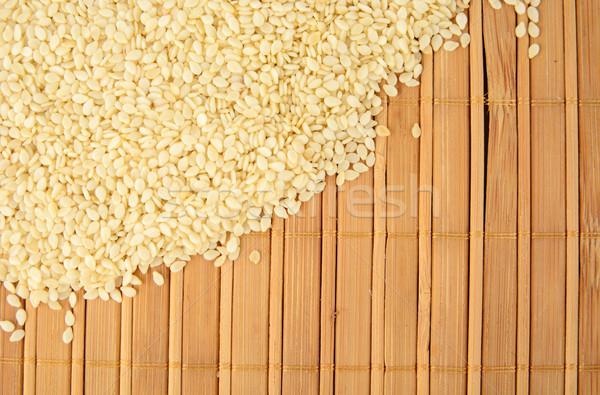 Szezámmag fából készült sarok háttér olaj növény Stock fotó © dla4