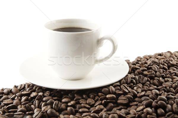 Línea granos de café taza café blanco marco Foto stock © dla4