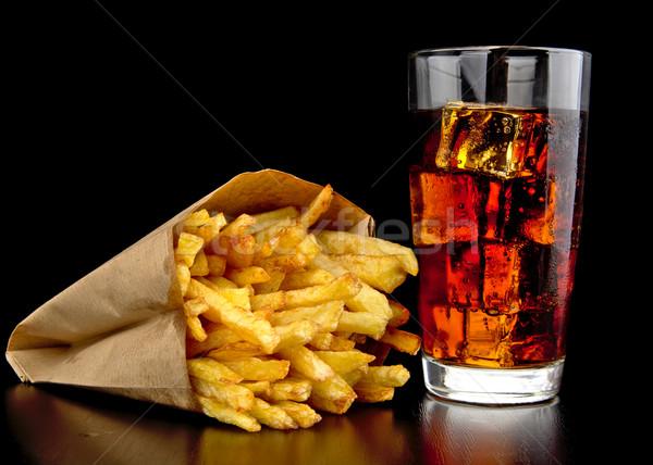 Foto d'archivio: Grande · cheeseburger · patatine · fritte · nero · desk · legno