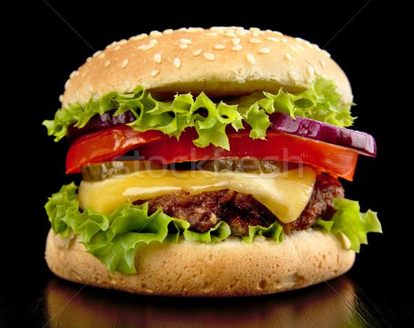большой чизбургер изолированный черный продовольствие Салат Сток-фото © dla4