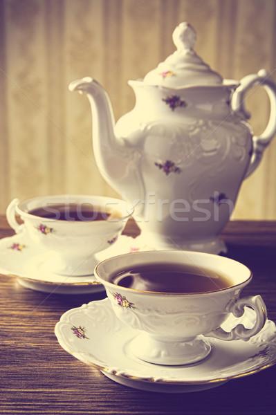 Bollitore due coppe caffè vintage effetto Foto d'archivio © dla4