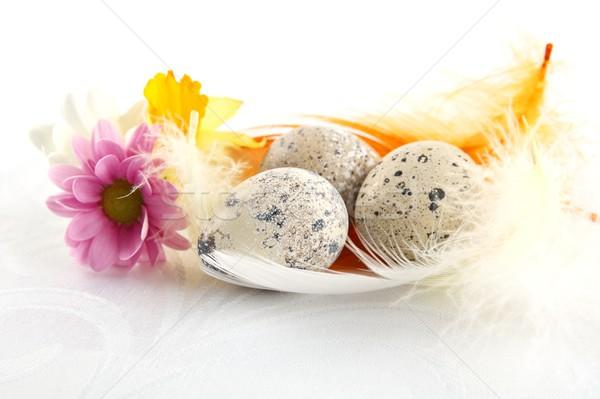 Gruppe Ostern Eier weiß Tischdecke Stock foto © dla4