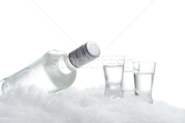 Garrafa óculos vodka gelo branco Foto stock © dla4