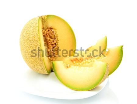 close-up shot Melon galia slices, pieces isolated white in studio Stock photo © dla4