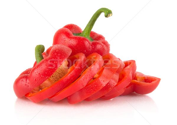 Közelkép szeletek piros harang paprikák fehér Stock fotó © dla4