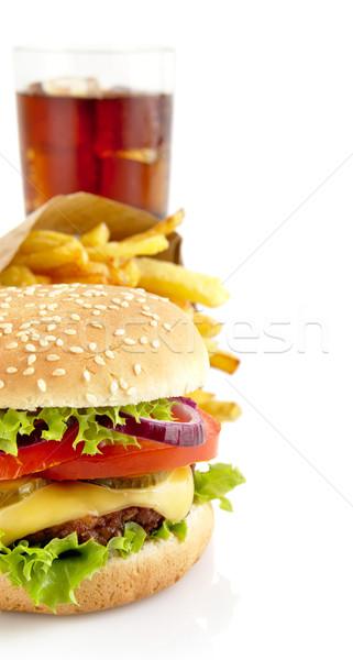 Immagine cheeseburger francese cola taglio grande Foto d'archivio © dla4