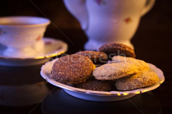 Bogrács csésze tea fekete porcelán kancsó Stock fotó © dla4