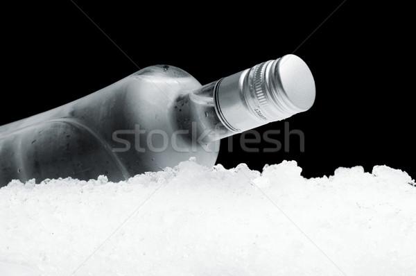 Fles wodka ijs zwarte Stockfoto © dla4
