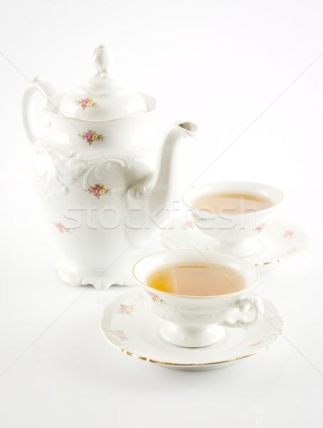 Bollitore due coppe tè bianco porcellana Foto d'archivio © dla4
