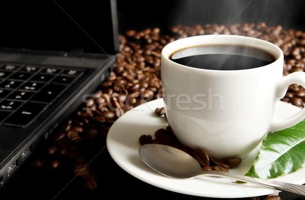 Fincan kahve yaprak kahvaltı siyah kahve buğu Stok fotoğraf © dla4