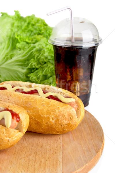 Sla houten bureau hot honden salade Stockfoto © dla4