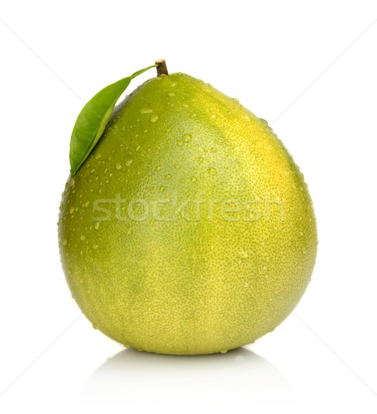 Wet Pomelo with leaf and drop waters isolated on white Stock photo © dla4