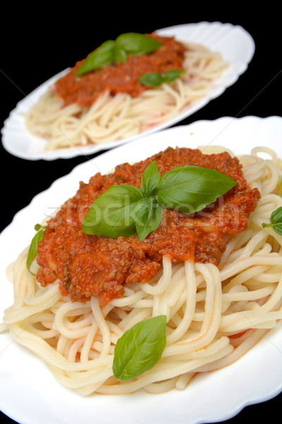 Cropped pasta spaghetti bolognese sauce on black Stock photo © dla4