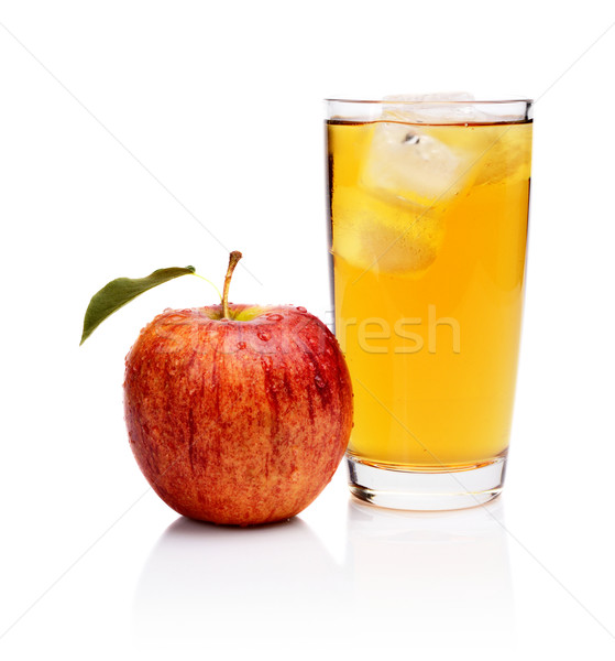 Close-up shot wet whole red apple juice ice cubes isolated Stock photo © dla4