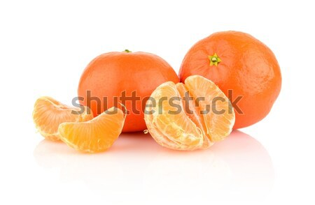 Studio shot tangerines with pieces isolated on whit Stock photo © dla4