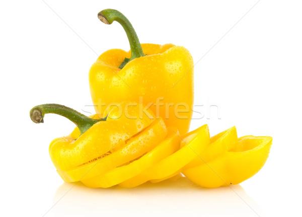Tranches jaune cloche poivrons blanche Photo stock © dla4