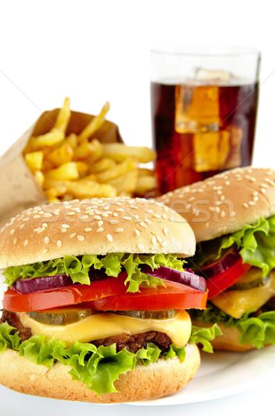 Deux Cola plaque grand frites françaises Photo stock © dla4