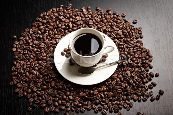 Stockfoto: Koffiekopje · teken · macro · zwarte · koffie