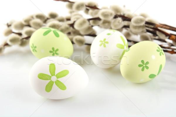 Kleurrijk paaseieren witte tabel kleur Pasen Stockfoto © dla4