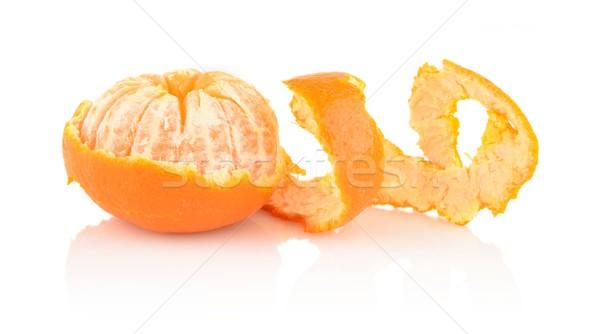 Spiraal schil mandarijn- geïsoleerd witte achtergrond Stockfoto © dla4