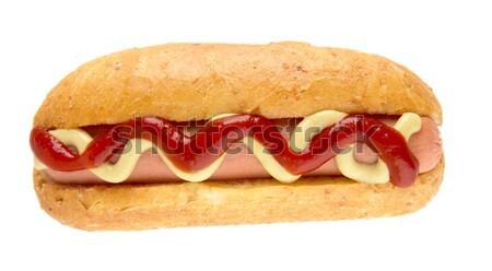 Hot dog mustár izolált fehér hotdog kutya Stock fotó © dla4