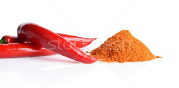 Studio shot chilli pepper, cayenne pepper isolated on white Stock photo © dla4