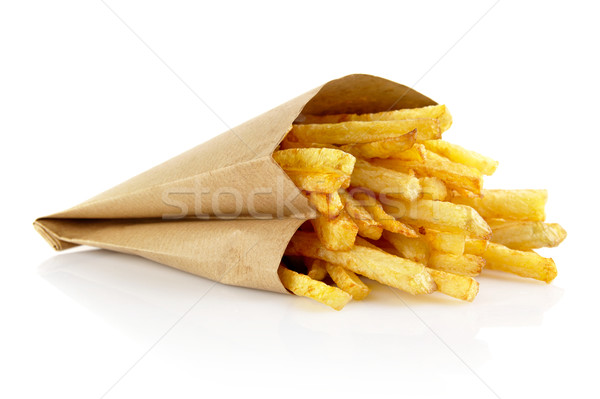 French fries in the paper bag isolated on white Stock photo © dla4