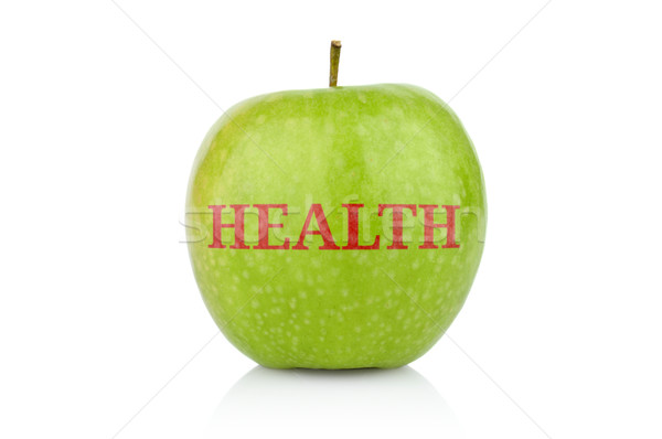 Studio shot of whole green apple with caption health Stock photo © dla4