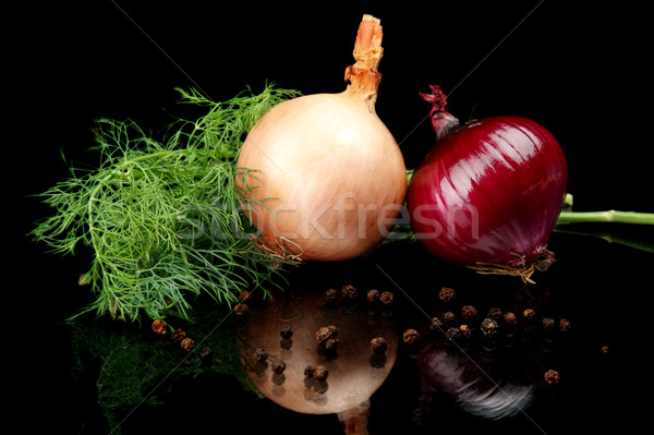 Onion,red onion,dill,pepper and allspice isolated on black Stock photo © dla4