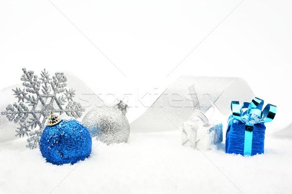 Plata azul Navidad brillante cinta nieve Foto stock © dla4