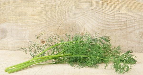 Dill leaves on wooden planking background Stock photo © dla4
