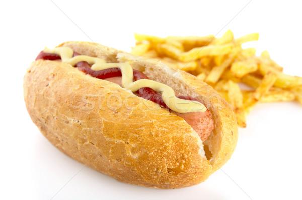 Hot Dog картофель фри изолированный белый хот-дог продовольствие Сток-фото © dla4